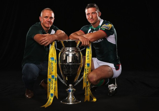 LONDON, ENGLAND - AUGUST 29:  (L-R) Brian Smith the London Irish Director of Rugby and Declan Danaher the London Irish captain pose for a photograph while attending the Aviva Premiership Season Launch 2013-2014 at Twickenham Stadium on August 29, 2013 in London, England. Getty Images for Aviva
