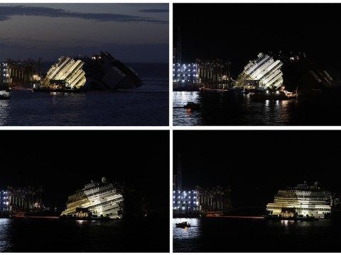 Time-lapse video shows salvage of Costa Concordia