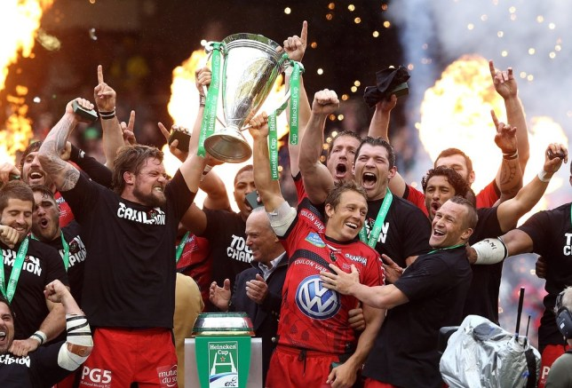 DUBLIN, IRELAND - MAY 18:  Jonny Wilkinson (R) and Joe van Niekerk of Toulon raise the Heineken Cup after their victory during the Heineken Cup final match between ASM Clermont Auvergne and RC Toulon at the Aviva Stadium on May 18, 2013 in Dublin, Ireland. Getty Images