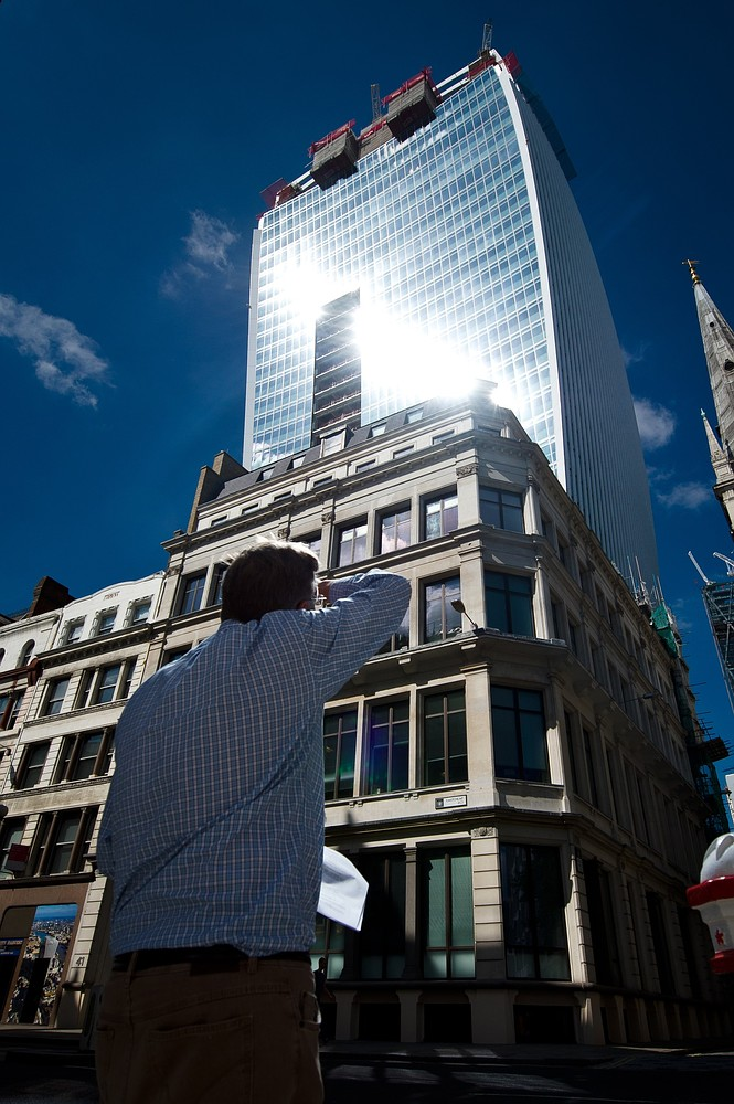 Owners of Walkie Talkie 'Fryscraper' put up screen to protect public from sun's rays