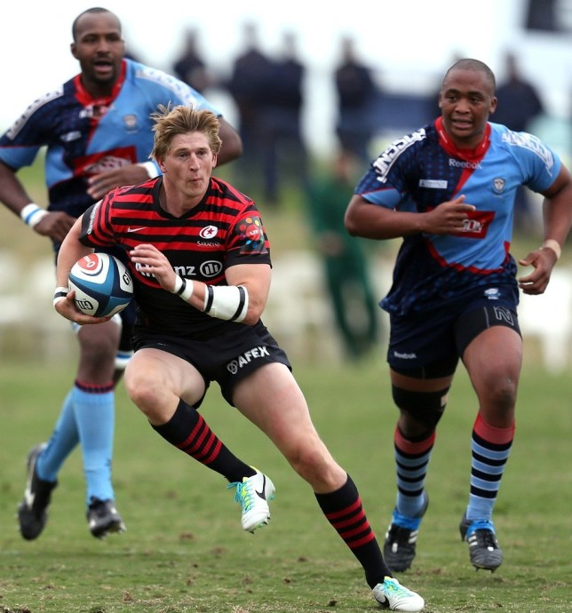 DURBAN, SOUTH AFRICA - AUGUST 14:  David Strettle of Saracens during an Exhibition match between College Rovers and Saracens at John Smit Field, Lungisisa Indlela Village on August 14, 2013 in Durban, South Africa. Getty Images