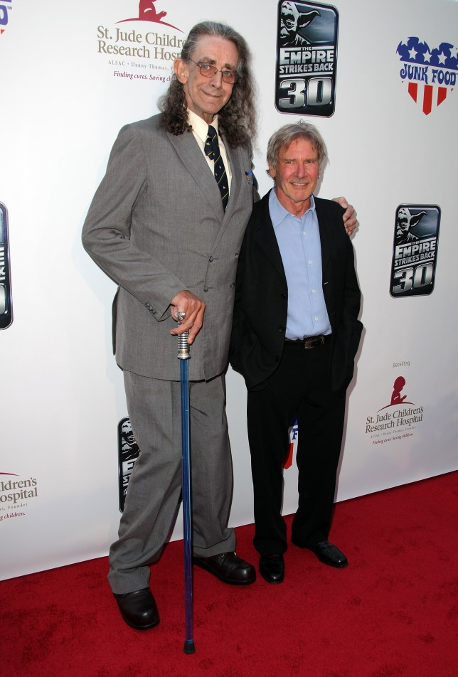 Peter Mayhew poses next to former Star Wars co-star Harrison Ford (Picture: Getty)
