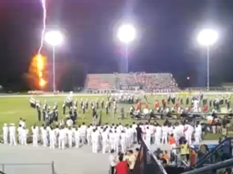 VIDEO: American football fans stunned as lightning strike hits during half-time