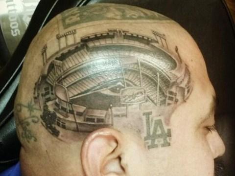 Huge Los Angeles Dodgers fan gets stadium tattooed onto his head