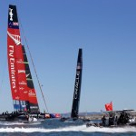 Emirates Team New Zealand, left, and Oracle Team USA compete during the 16th race of the America's Cup sailing event, Monday, Sept. 23, 2013, in San Francisco. (AP Photo/Ben Margot)
