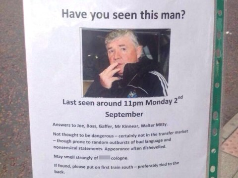 Newcastle director of football Joe Kinnear mocked in 'missing person' poster