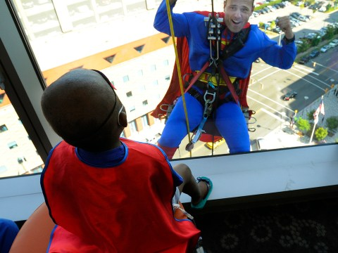 Gallery: Superhero window cleaners surprise children at hospital