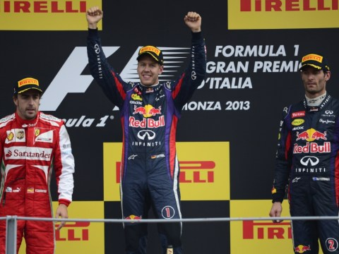 Gallery: German driver Sebastian Vettel celebrates winning at the Italian Grand Prix