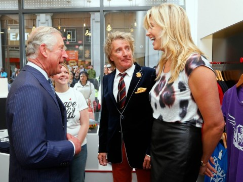 Charmer Prince Charles enjoys a laugh with rocker Rod Stewart's wife Penny Lancaster