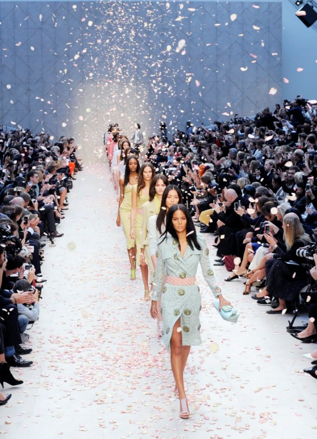 Sadly, we can't all fit on the Burberry FROW during London Fashion Week (Picture: EPA/FACUNDO ARRIZABALAGA)