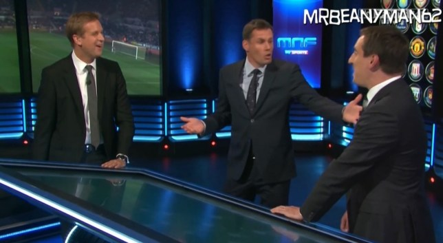 Awkward: Presenter Ed Chamberlin watches as Carragher and Neville argue (Picture: Sky Sports)