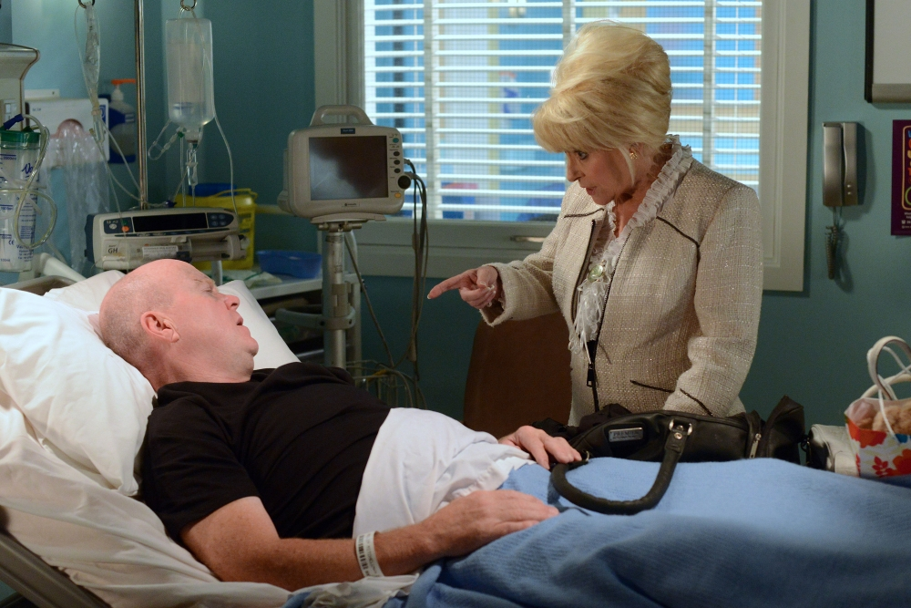 Programme Name: EastEnders - TX: 20/09/2013 - Episode: n/a (No. 4715) - Embargoed for publication until: 09/09/2013 - Picture Shows: When Peggy lays eyes on her son she is upset to see the state he is in but she wastes no time in telling Phil that he needs to pull himself together. Phil Mitchell (STEVE MCFADDEN), Peggy Mitchell (BARBARA WINDSOR) - (C) BBC - Photographer: Kieron McCarron