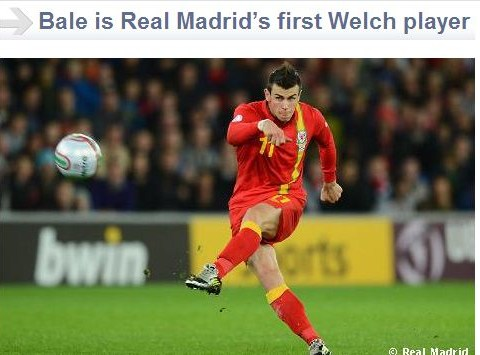 Welch rarebit: Real Madrid misspell Welsh in Gareth Bale article on official website