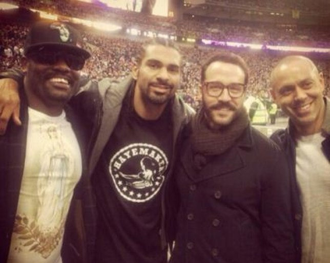 Best pals: Chisora. Haye, Booth (Picture: Twitter)