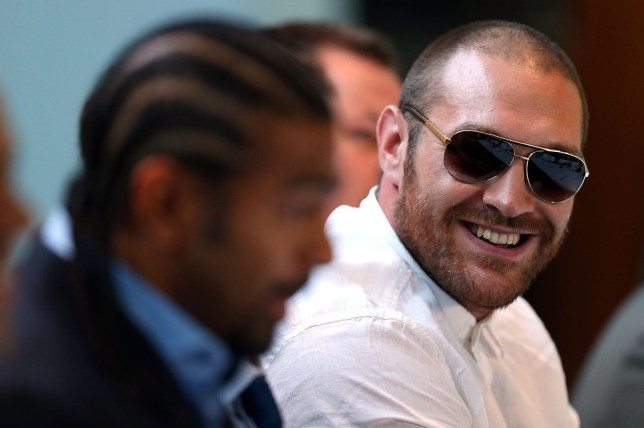 Tyson Fury, right with David Haye, was involved in a Twitter row last night (Picture: Getty Images)