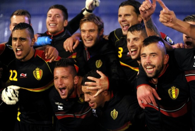 Belgium's players celebrate qualifying in Zagreb (Picture: AFP/Getty Images)