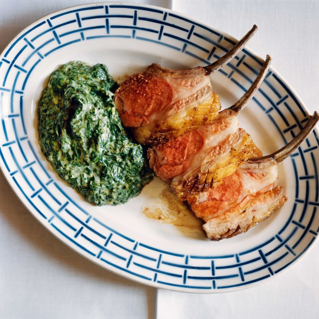 Simon Hopkinson's roat best end of lamb with creamed spinach (Picture: Jason Lowe)