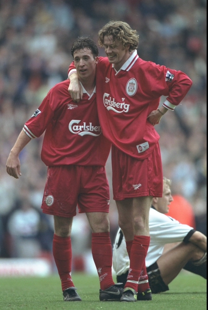 25 Oct 1997:  Robbie Fowler and Steve McManaman (right) of Liverpool celebrate a goal during the FA Carling Premiership match against Derby County at Pride Park in Derby, England. Liverpool won the match 0-4.  Mandatory Credit: Gary M Prior/Allsport