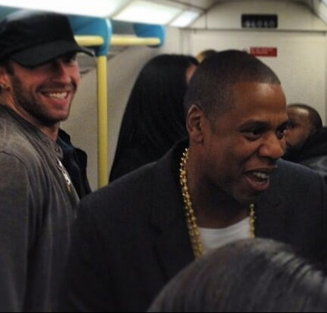 October 12, 2013: Jay-Z uses the underground after his performance at the 02 arena in London, UK. He is accompanied by close friend Chris Martin and producer Timbaland. Mandatory Credit: Supplied by INFphoto.com  Ref: infuk-00 IMPORTANT NOTICE: The attached image is supplied by Insight News & Features, Inc. (INF). INF does not own, nor does it claim to own, the copyright or any license to the image. Any fees charged by INF for the image are for the supply of the material and do not, and are not intended to, convey to the user any copyright or license rights. By accepting submission of the image, the end-user accepts the full responsibility of obtaining copyright clearance from the copyright holder prior to publication. Also, the end-user agrees to fully indemnify INF from any and all legal claims, demands or causes of action arising out of, or connected with, the user's use or publication of the image. If the end-user does not, or cannot, comply with all of the above restrictions, the image should not be used or published by that end-user.