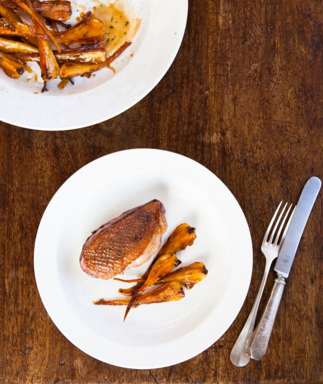 Honey-roasted parsnip and duck breast