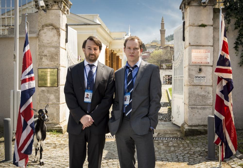 David Mitchell, Robert Webb and goat in Ambassadors (Picture: Big Talk)