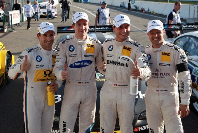 Hockenheim (DE) 19th October 2013. BMW Motorsport, 4th Driver Timo Glock (DE), 2nd Place Driver Dirk Werner (DE), Pole Setter Bruno Spengler (CA) and 3rd Place Driver Andy Priaulx (GB) . This image is copyright free for editorial use © BMW AG (10/2013).