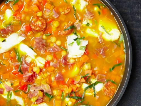 How to cook salt cod, chickpea and chorizo soup
