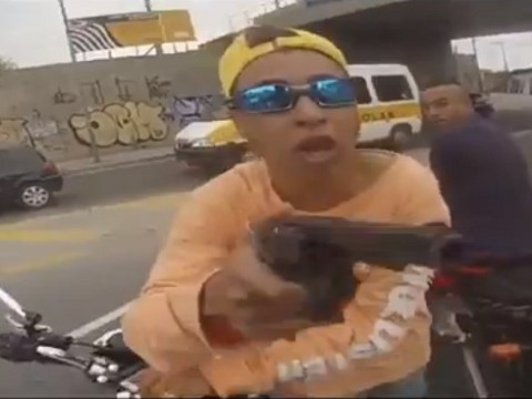 Helmet camera captures moment bike thief is shot dead by police