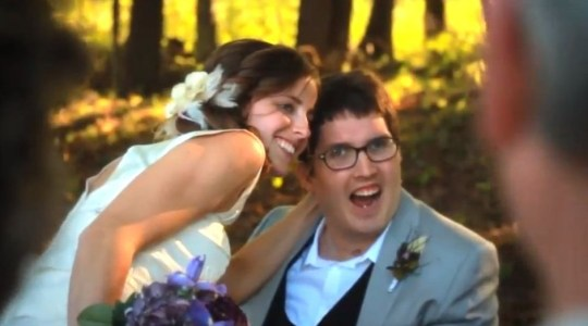 Ian and Larissa on their wedding day (Picture: YouTube)