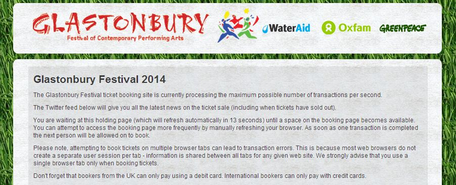 Music fans trying to buy a ticket for Glastonbury 2014 are stuck on this holding page (Picture: Glastonbury/See Tickets)