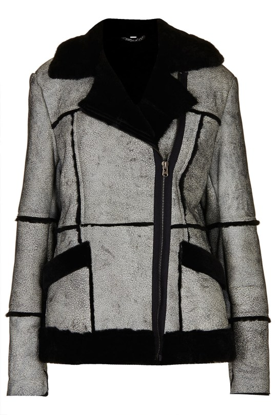 Kate Bosworth crackle sheepskin coat, £450 for Topshop