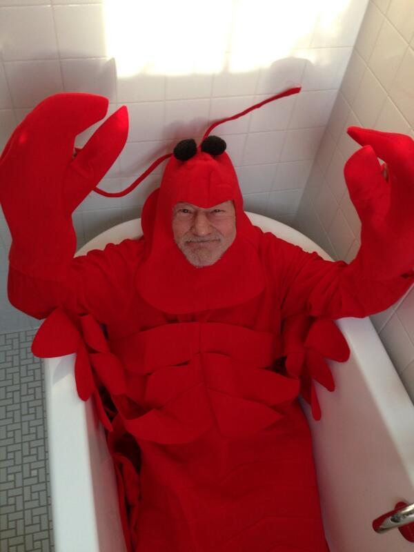 Patrick Stewart dressed as a lobster