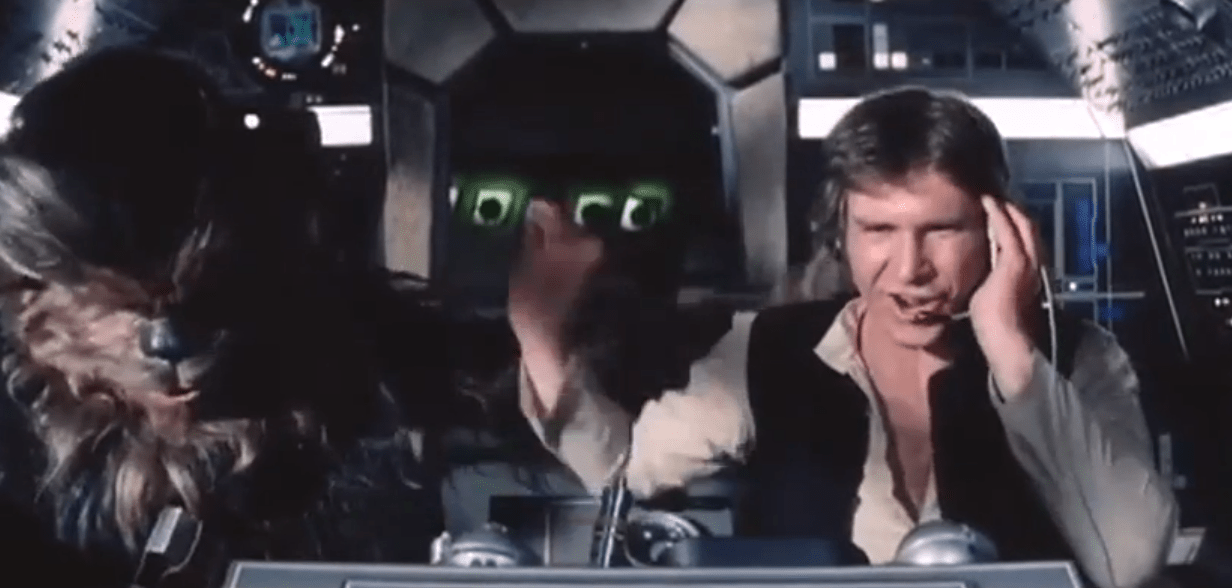 Harrison Ford fluffs up one of his scenes in Star Wars: A New Hope (Picture: Lucasfilms/YouTube)