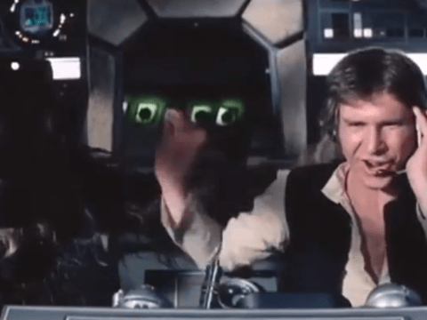 Harrison Ford chews on his headphones in Star Wars blooper reel