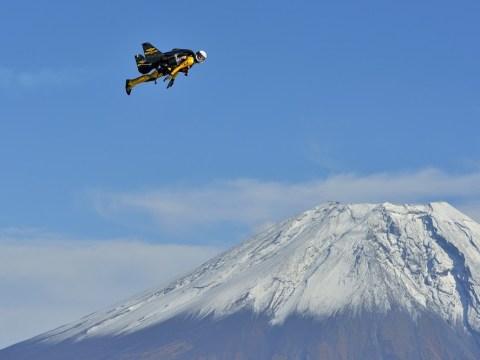 Yves Rossy completes nine flights around Mount Fuji in custom-made jetpack