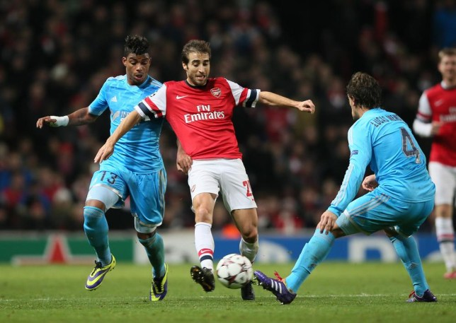 Arsenal's Mathieu Flamini dons his self-styled shirt (Picture: AFP)