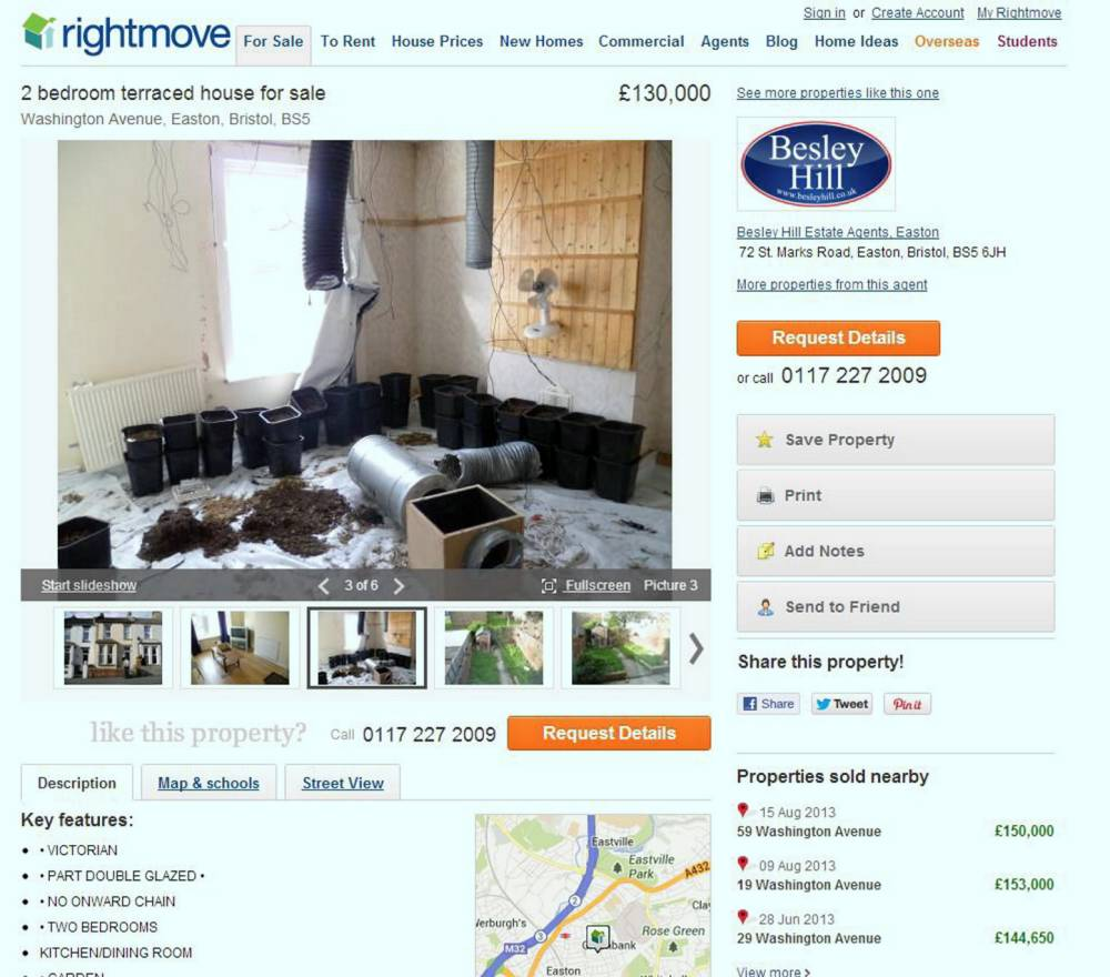 Victorian two-bed property with cannabis farm accidentally advertised on Rightmove