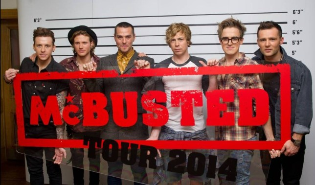 LONDON, UNITED KINGDOM - NOVEMBER 11: (L-R) Danny Jones of McFly, Dougie Poynter of McFly, Matt Willis of Busted, James Bourne of Busted, Tom Fletcher of McFly and Harry Judd of McFly attend a press conference to announce the McBusted 2014 arena tour at the Soho Hotel on November 11, 2013 in London, England. (Photo by Zak Hussein/Getty Images)