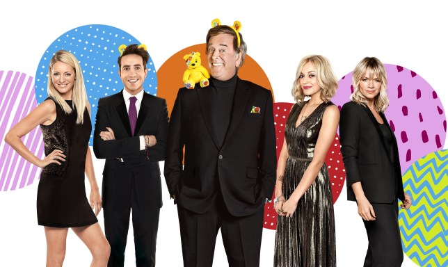 Tess Daly, Nick Grimshaw, Sir Terry Wogan, Fearne Cotton and Zoe Ball will be co-presenting this year's Children In Need (Picture: BBC)