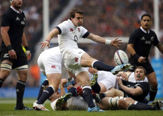 England's scrum half Lee Dickson kicks the ball downfield during the international rugby union test match between England and New Zealand at Twickenham Stadium, southwest of London on November 16, 2013. AFP PHOTO / ADRIAN DENNISADRIAN DENNIS/AFP/Getty Images