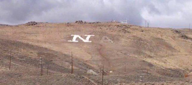A mysterious 'A' written into a Nevada hillside was discovered to be part of a love message (Picture: KOLO news )