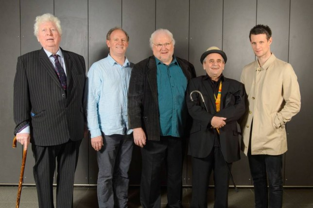Former Doctor Who actors (left to right) Tom Baker, Peter Davison, Colin Baker, Sylvester McCoy and Matt Smith at the Doctor Who Official 50th Anniversary Celebration