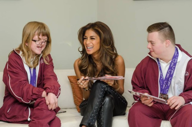 Nicole Scherzinger meets Special Olympians Sophie Dalglish and Tom Hawkins to mark her role as ambassador (Picture: Tom O'Leary)