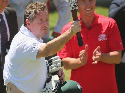 The Ashes 2013-14: Mouthy Piers Morgan is beaten up by Brett Lee in MCG nets