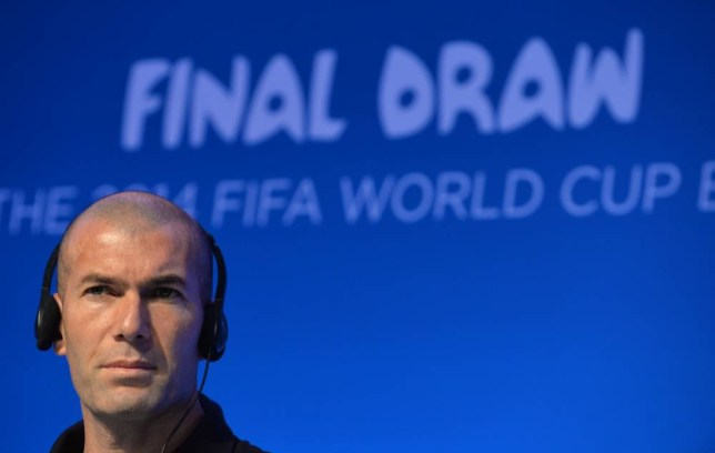 French football legend Zinedine Zidane gives a press conference on the eve of the Brazil 2014 FIFA Football World Cup final draw, in Costa do Sauipe, state of Bahia, on December 5, 2013. Zidane is amongst the eight players participating in the draw ceremony that will determine the World Cup final stage eight groups .  AFP PHOTO / NELSON ALMEIDANELSON ALMEIDA/AFP/Getty Images