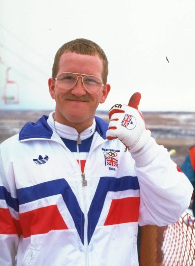 13-28 Feb 1988:  Eddie Edwards of Great Britain gives the thumbs up before the 70 metres Ski Jump event during the 1988 Winter Olympic Games in Calgary, Canada.   Mandatory Credit: Gray  Mortimore/Allsport