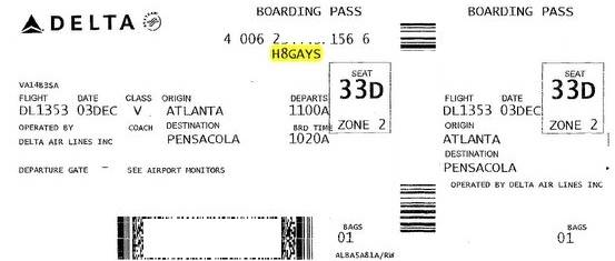 Delta Air Lines sorry for 'H8GAYS' boarding pass code