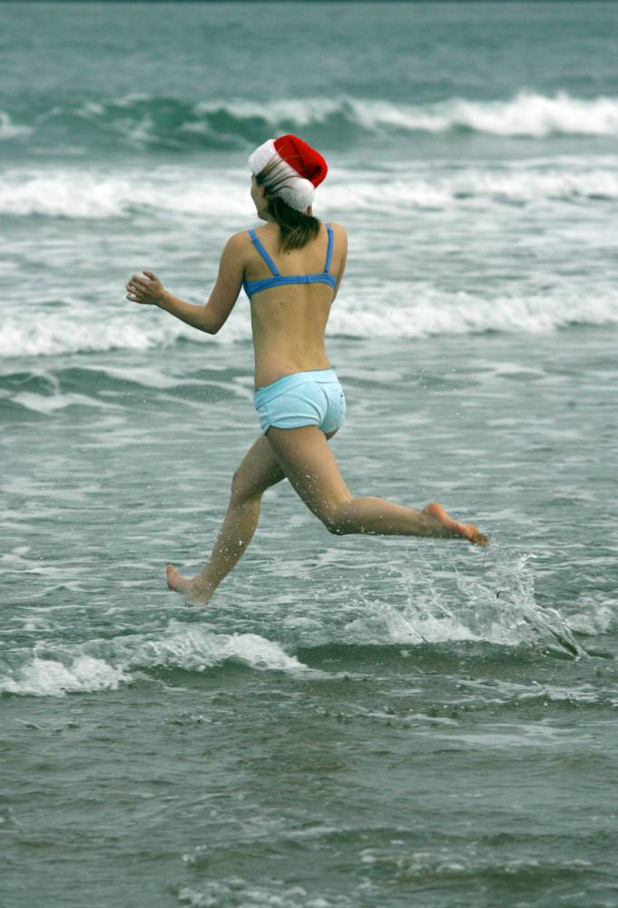 A swimmer at the annual Nippy Dipper plunge into the North Sea (Picture: Alamy)