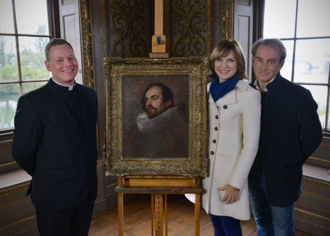 EMBARGOED TO 0001 SUNDAY DECEMBER 29 For use in UK, Ireland or Benelux countries only. BBC undated handout photo of  Antiques Roadshow host Fiona Bruce with expert Philip Mould and Father Jamie MacLeod with the van Dyck portrait, bought for £400, which was revealed to be worth for £400,000 after its owner brought it into the programme. PRESS ASSOCIATION Photo. Issue date: Sunday December 29, 2013. The painting was first taken along to the roadshow in Nottinghamshire last year by Father Macleod who now plans to sell it to buy new church bells. See PA story ARTS Roadshow. Photo credit should read: Jeff Overs/BBC/PA Wire NOTE TO EDITORS: Not for use more than 21 days after issue. You may use this picture without charge only for the purpose of publicising or reporting on current BBC programming, personnel or other BBC output or activity within 21 days of issue. Any use after that time MUST be cleared through BBC Picture Publicity. Please credit the image to the BBC and any named photographer or independent programme maker, as described in the caption.