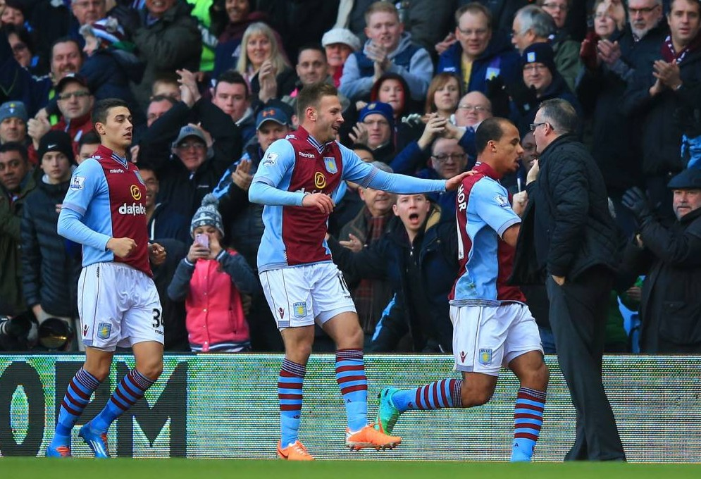 Aston Villa players in show of solidarity with Paul Lambert after Gabriel Agbonlahor goal